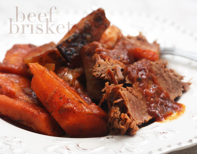 dinner with five plates: beef brisket with carrots and potatoes